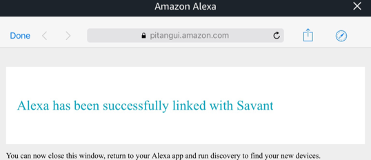 Alexa has been successfully linked.
